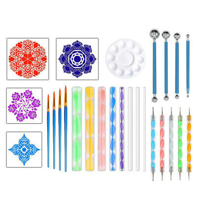 Paint Tray Mandala Stencil Nail Art Dotting Tools Set For Rocks Painting