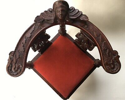 Vintage Victorian Salesman Sample Corner Chair Doll Furniture Red Velvet Wooden