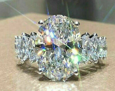 4.58 Ct Solid 14k white Gold Over Oval cut Engagement Solitaire Diamond Ring