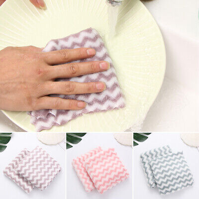 Coral Velvet Cleaning ClothWashing Towel Scouring Pad Stripe Dishcloth Household