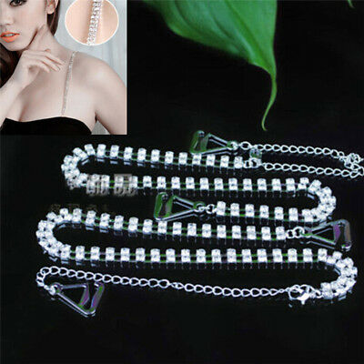 2PCs Adjustable Double Rows Crystal Diamante Rhinestone Bra Shoulder Straps gv