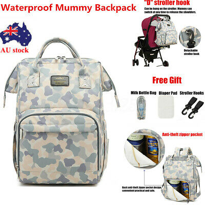 AU Large Mummy Backpack Waterproof Nappy Diaper Bag Baby Mommy Changing Nursing