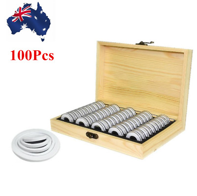 100pcs Round Cases Coin Capsules Display Container with Storage Holder Box AU