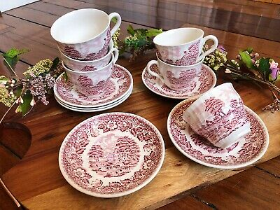Vintage Barratts Of Staffordshire England Tea Cups And Saucers - Rare Pink/White
