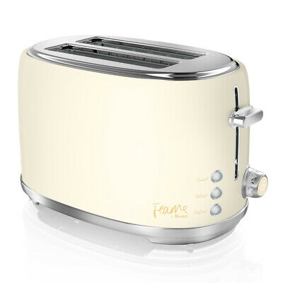 Swan Fearne Cream 2 Slice Bread  Toaster Variable Browning Defrost Reheat