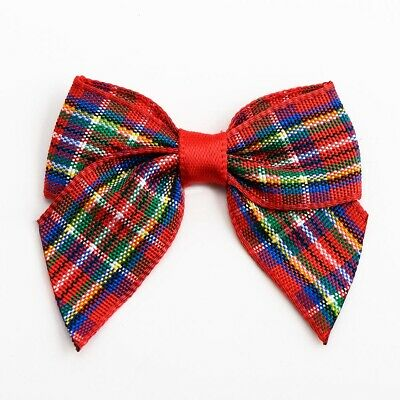 Christmas Highland Tartan Check Ribbon Bows 4cm Embellishment Craft Item
