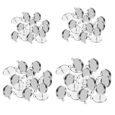 80Pcs Stainless Steel Earring Blank Ear Post Cabochon Setting Tray 10-16mm