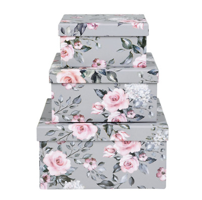 Brand New Floral Storage Boxes - Set of 3, Beautifully decorated/organisers/Gift