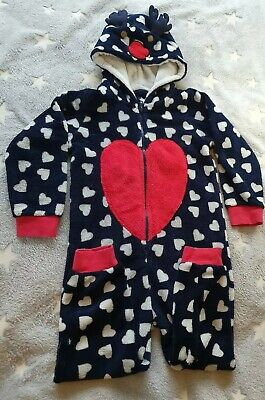 Girls Christmas fleece 4-5 years all in one Rudolph
