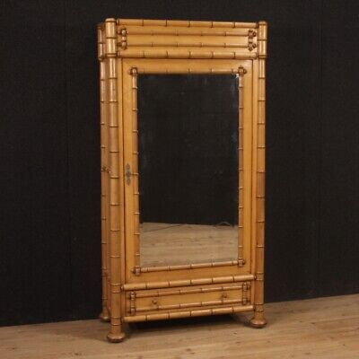 Wardrobe in bamboo wood cabinet armoire mirror style vintage design modern