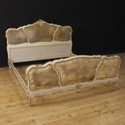 Bed Venetian Matrimonial Furniture Wooden Lacquered Silver Antique Style 900
