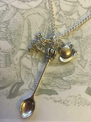 SILVER Spoon Necklace Alice Wonderland Tea Party Vintage Cup Saucer Pendant 18""