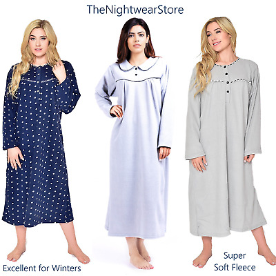Warm and Cosy Winter Nightie for Ladies 100% Soft Fleece Nightdress Full Sleeves