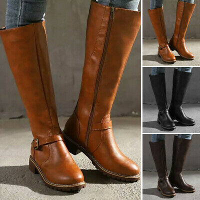 Women PU Leather Knee High Low Heel Booties Round Toe Non-slid Buckle Belt Boots