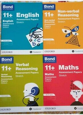 Bond 11+ Plus Books 10-11 Years Assessment Papers STRETCH set of 4 Books UK