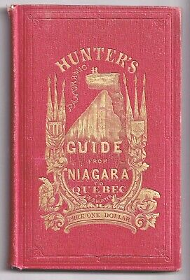 1857 ILLUSTRATED GUIDE NIAGARA to QUEBEC Huge 11' Fold-Out River MAP Canada