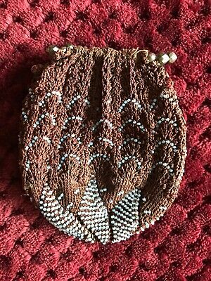 Beautiful Antique French 1830's Brown/blue knitted purse with bead embroidery