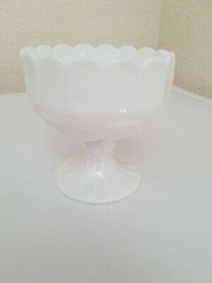 """Vintage Art Fenton Compote Pedestal Footed 4""""x4"""" Candy Dish-Milk Glass"""