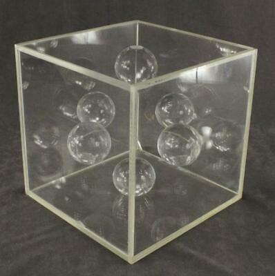 Vintage MCM Mid Century POP ART Lucite Acrylic Ball Geometric Cube Art Sculpture