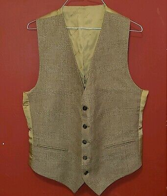 Rare Mens YSL Logo Yves Saint Laurent Medium Glen Plaid Suit Vest Tan Brown