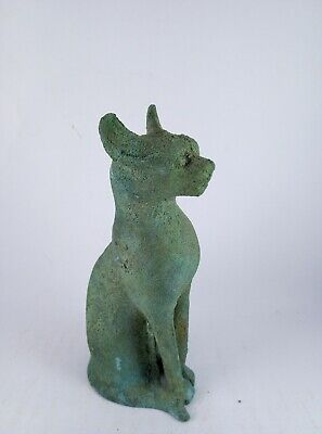 RARE ANCIENT EGYPTIAN ANTIQUE BAST BASTET CAT Bronze Statue 1574-1287 BC