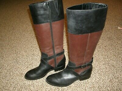 Ralph Lauren Maryann Black Brown Leather Knee-High Boots Riding Women 8 B