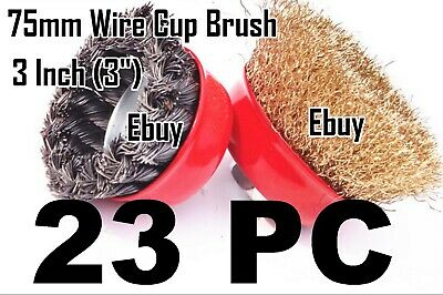 """23 Wire Cup Brush Wheel 3"""" (75mm) for 4-1/2"""" (115mm) Angle Grinder Twist Crimped"""