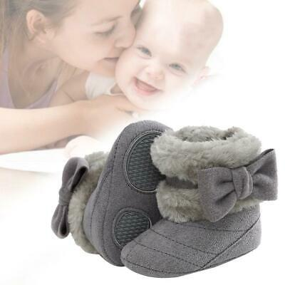 Fashion Baby Snow Boots Plush Winter Thick Warm Bow Tie Solid Color Comfortable