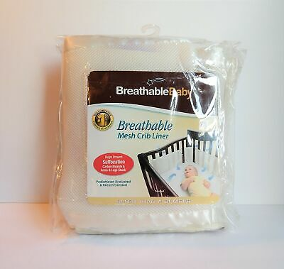 Breathable Baby Mesh Crib Liner White Safety Hypoallergenic UPC #094922799708