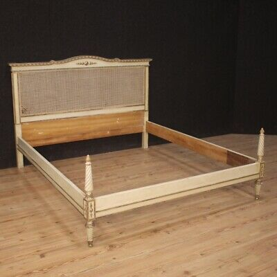 Bed Lacquered Furniture Wood Painting Antique Style Louis XVI Bedroom Antique