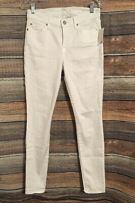 7 For All Mankind Size 28 White Guenevere Skinny High Rise Jeans NWT