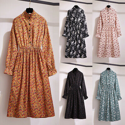 Womens Boho Floral Print Dress Long Sleeve Vintage Casual Cocktail Evening Party