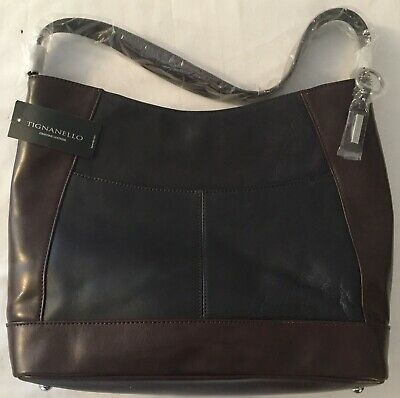 Brand New With Tags Tignanello Framed Hobo Bag Navy/Dark Brown