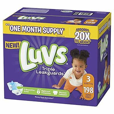 Diapers Size 3, 198 Count - Luvs Ultra Leakguards Disposable Baby Diapers, ONE M