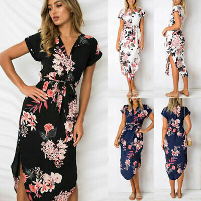 Womens Short Sleeve Wrap Boho Floral Maxi Dress Ladies Summer Sundress Holiday