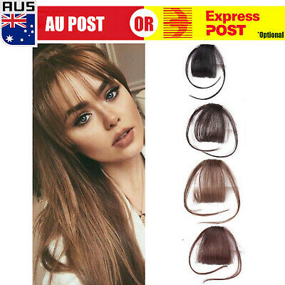 Thin Neat Air Bangs Remy Hair Extensions Clip in on Fringe Front Hairpiece A