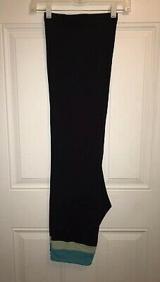 Lululemon Womens WideLeg Yoga Pants 6 Black Turquoise Pocket+Reversible PreLoved