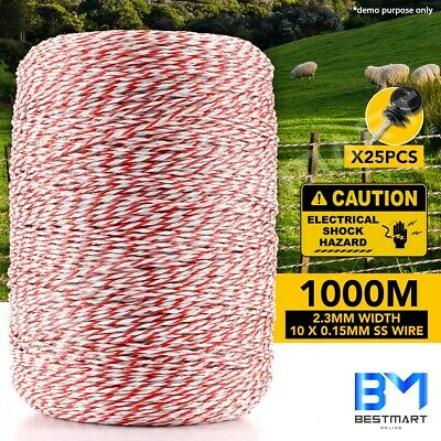 1000M Fence Fencing Roll Polywire Stainless Steel Poly Tape Insulator Electric