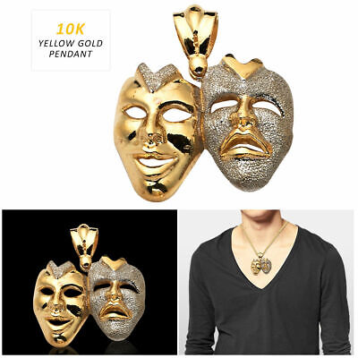 10K Yellow Gold Mens Womens Tragicomedy Faces Thespian Actors Pendant Charm
