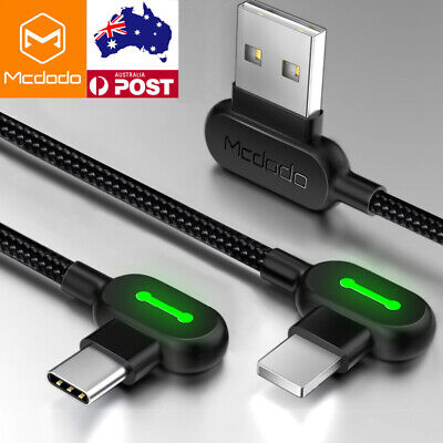 Mcdodo Fast Charging & Sync IOS / Type C Cable L Shape LED USB3.0 For Gamer