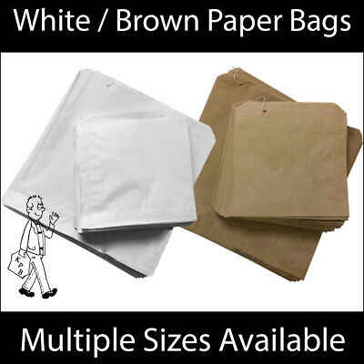 White / Brown Kraft Paper Bag for Food Sandwiches Groceries etc All Sizes