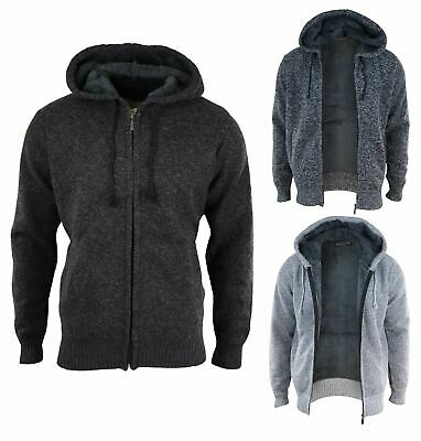 Mens Knitted Jumper Full Zip Jacket Hooded Thick Fleece Fur Lined Warm Winter