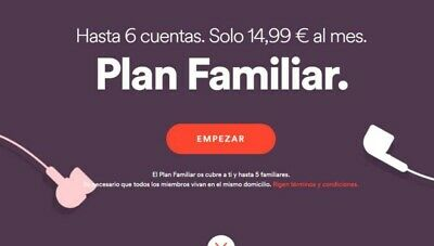 Spotify 3 Meses Familiar 6 Usuarios / 3 Months - Family  account  6 users