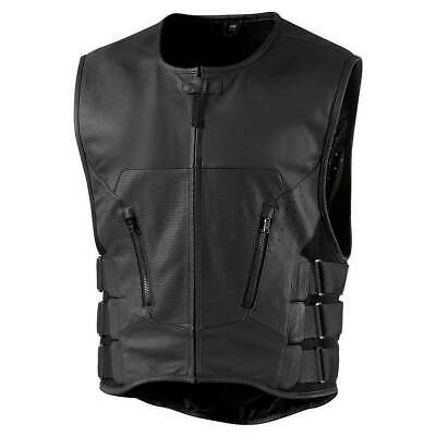 Icon Regulator D3O Stripped Motorbike Motorcycle Leather Vest Black