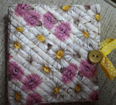 Quilted Handmade Needle Book White daisy RHS Fabric wooden yellow button