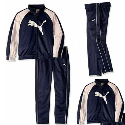 NWT PUMA Toddler Girls 2 Piece Tricot Tracksuit Set Jacket Pants Navy/Pink Sz 2T