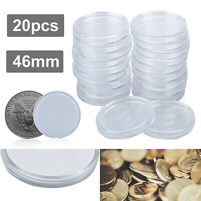 20PC Round Plastic Coin Holders 46mm Portable Storage Case Box Container Display