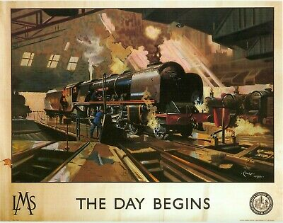 Mounted Print, Railwayiana, LMS. The Day Begins. Cuneo