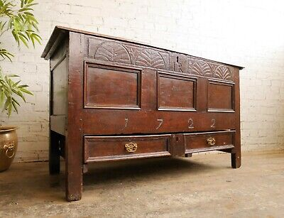 Antique Early Georgian 1722 Mule Chest Blanket Box Coffer Sideboard with Drawer