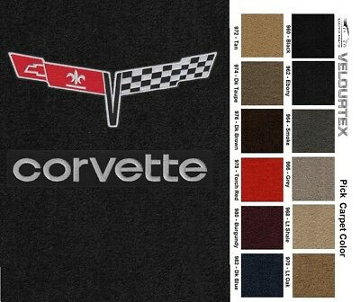 Lloyd Mats Corvette Crossed Flags & Word Velourtex Floor Mats (1980-82)